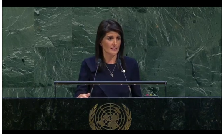 Image result for Haley speaking to the General assembly in the UN